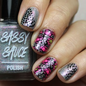 with Nail Art (reverse stamping with It's My Party)