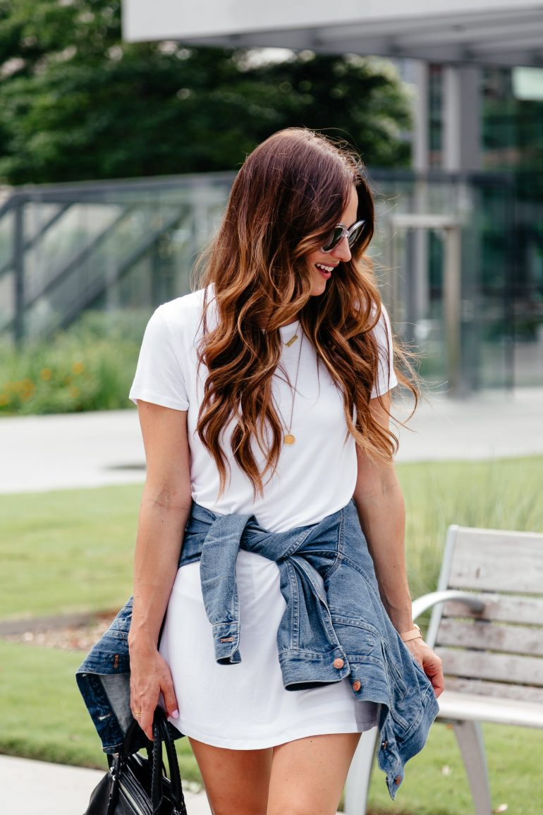 A Lo Profile: casual summer uniform featuring a white tshirt dress, denim jacket, and black flatform wedges.