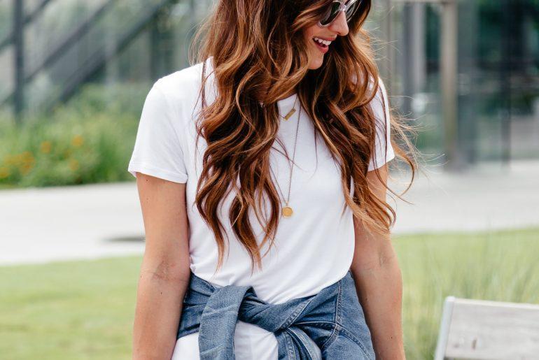 A Lo Profile: casual summer uniform featuring a white tshirt dress, denim jacket, and black flatform wedges.