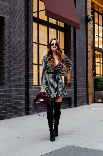 Striped Ruffle Hem Dress + Are the Stuart Weitzman OTK boots worth it? Click through to find out & to shop a ton of budget friendly options!