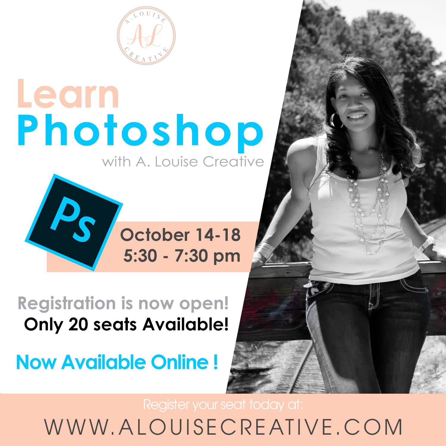 Learn Photoshop Online! from October 14-18 at 5:30 each evening, A. Louise will go Live teaching the basics of Photoshop in practicum for those who want to learn.