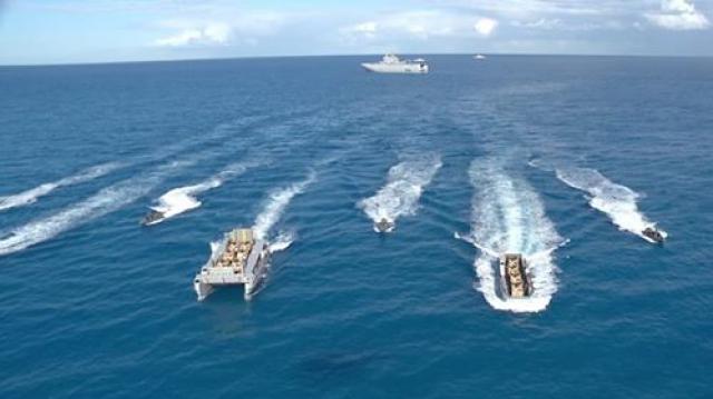 البحرية المصرية خلال تنفيذ عملية برمائية