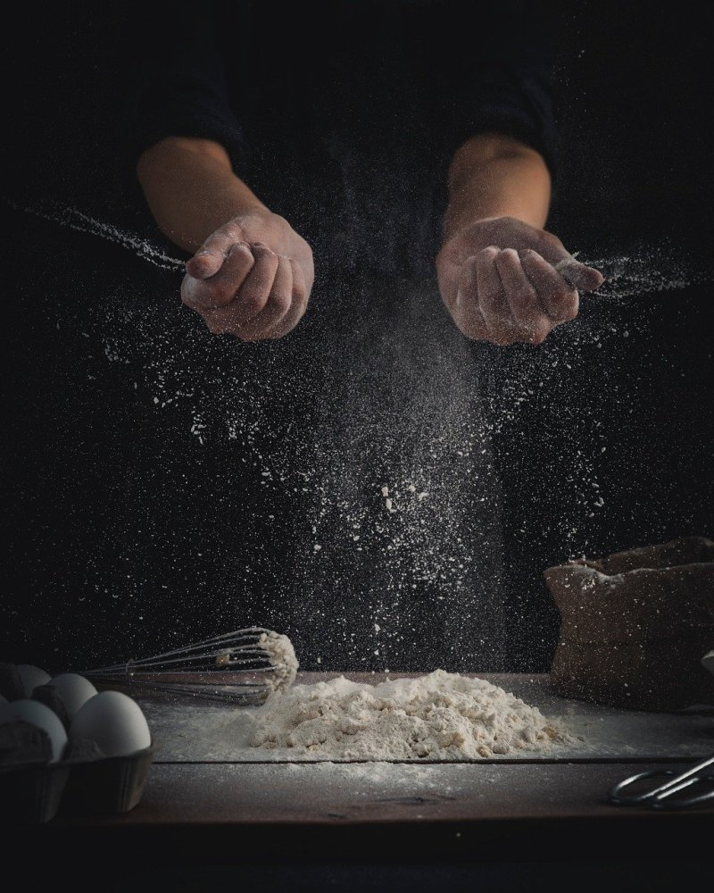 chef, flour, dough