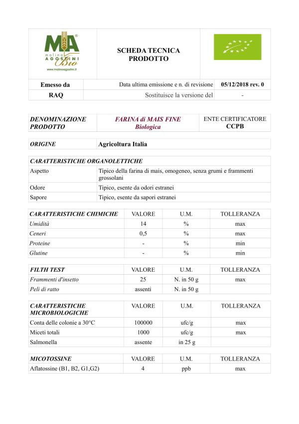 Farina di Mais Fioretto (grana fine) per Polenta Bio