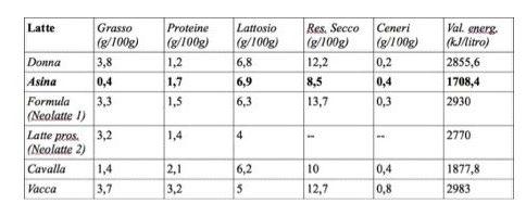 latte di asina valori nutrizionali