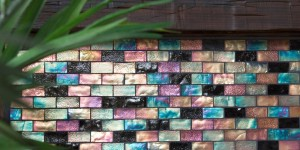 Glass Mosaic Fireplace Detail