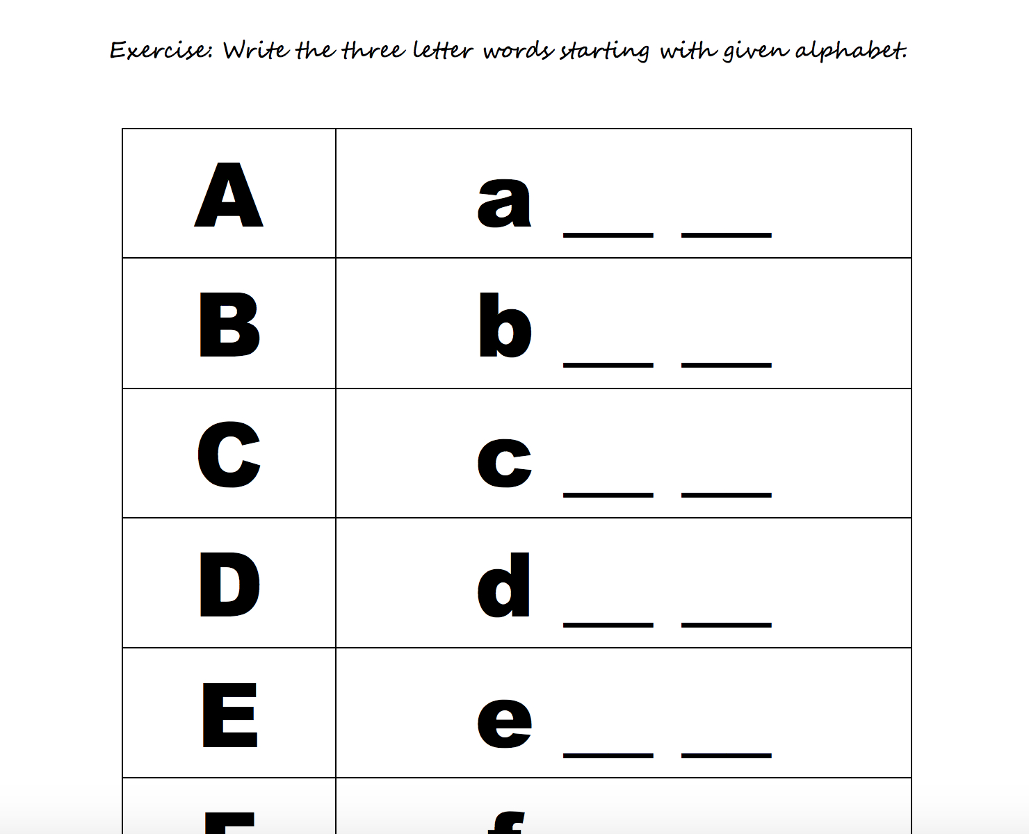 Alphabet Beginners Worksheets