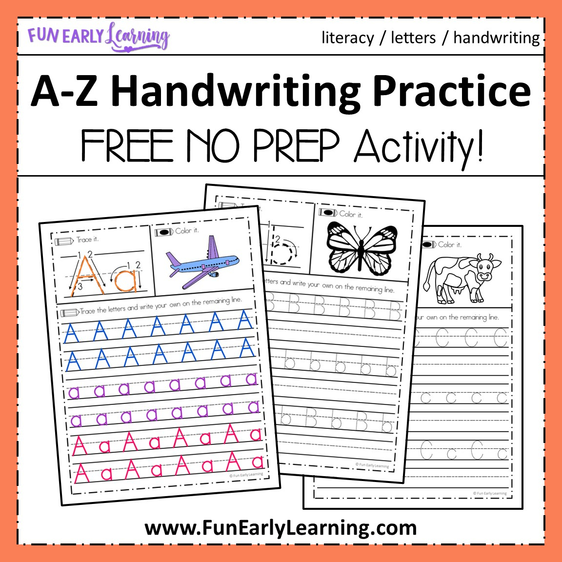 Alphabet Handwriting Worksheets A To Z Printable
