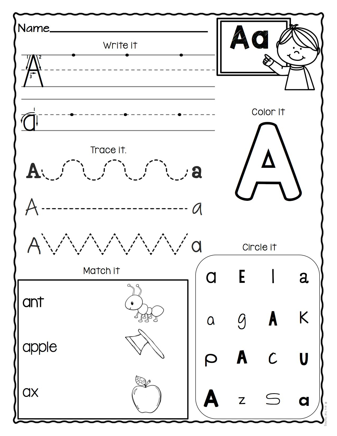 A Letter Worksheets Kindergarten