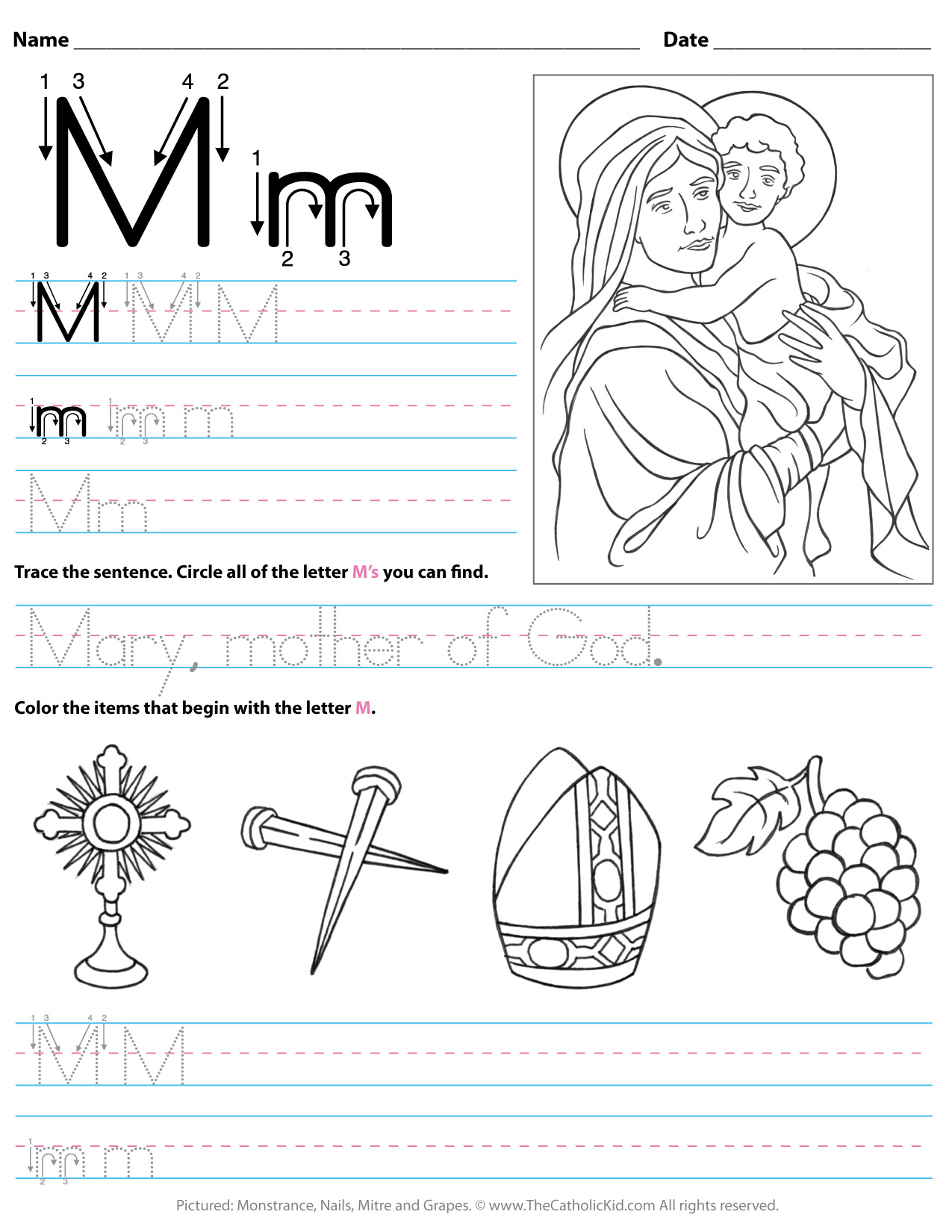 Letter M Worksheets For Kinder