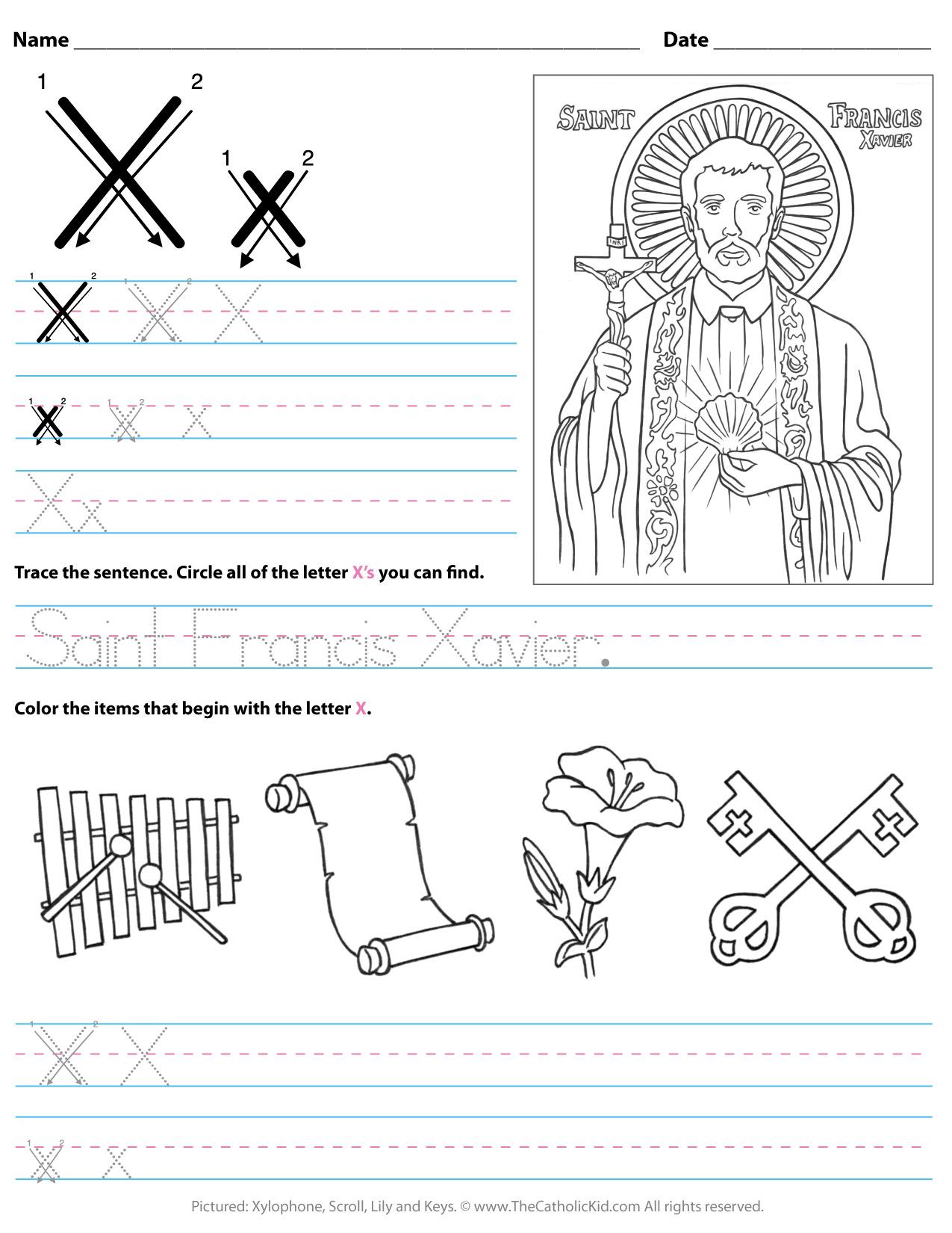X Letter Worksheets
