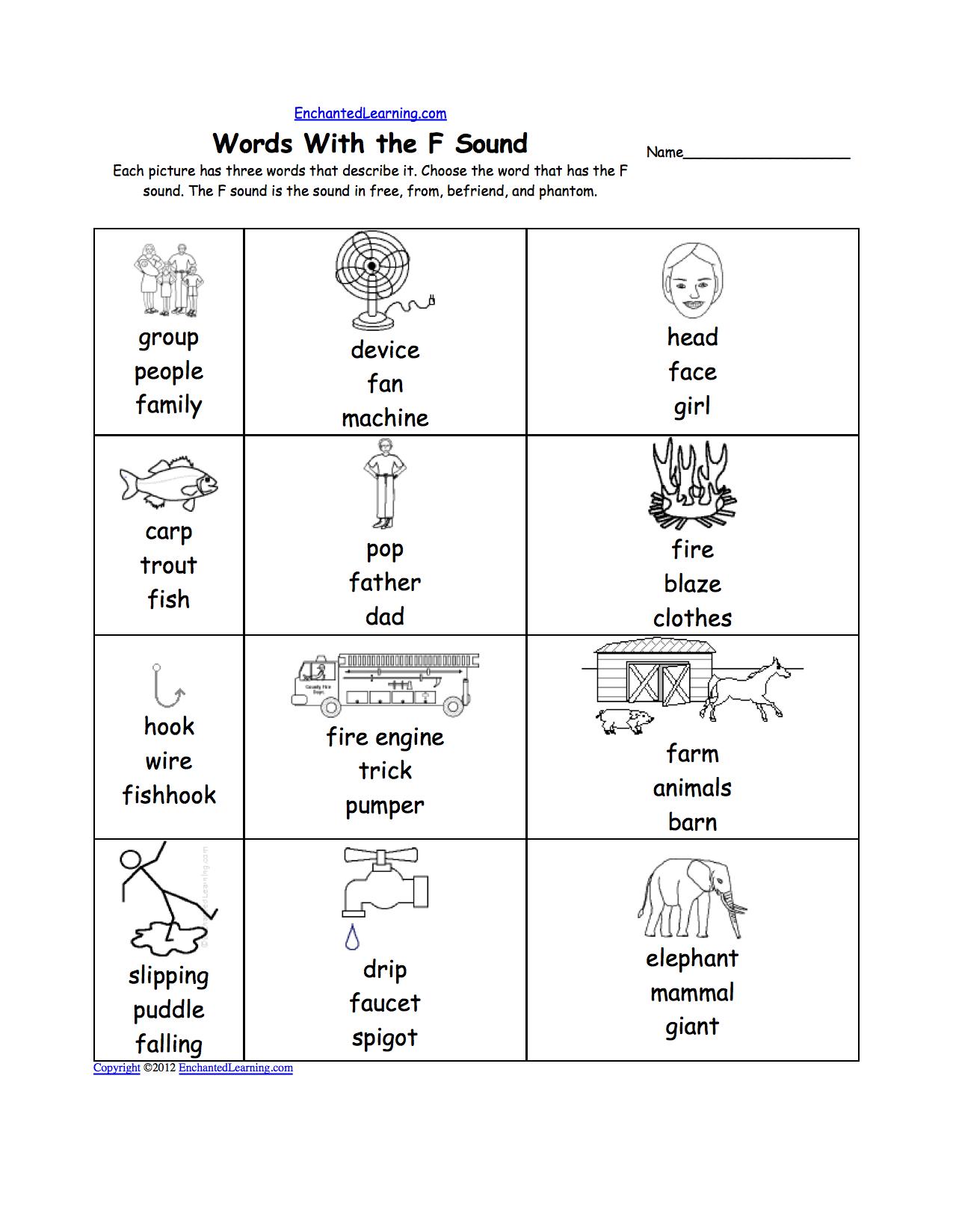 Letter F Worksheets For Grade 1