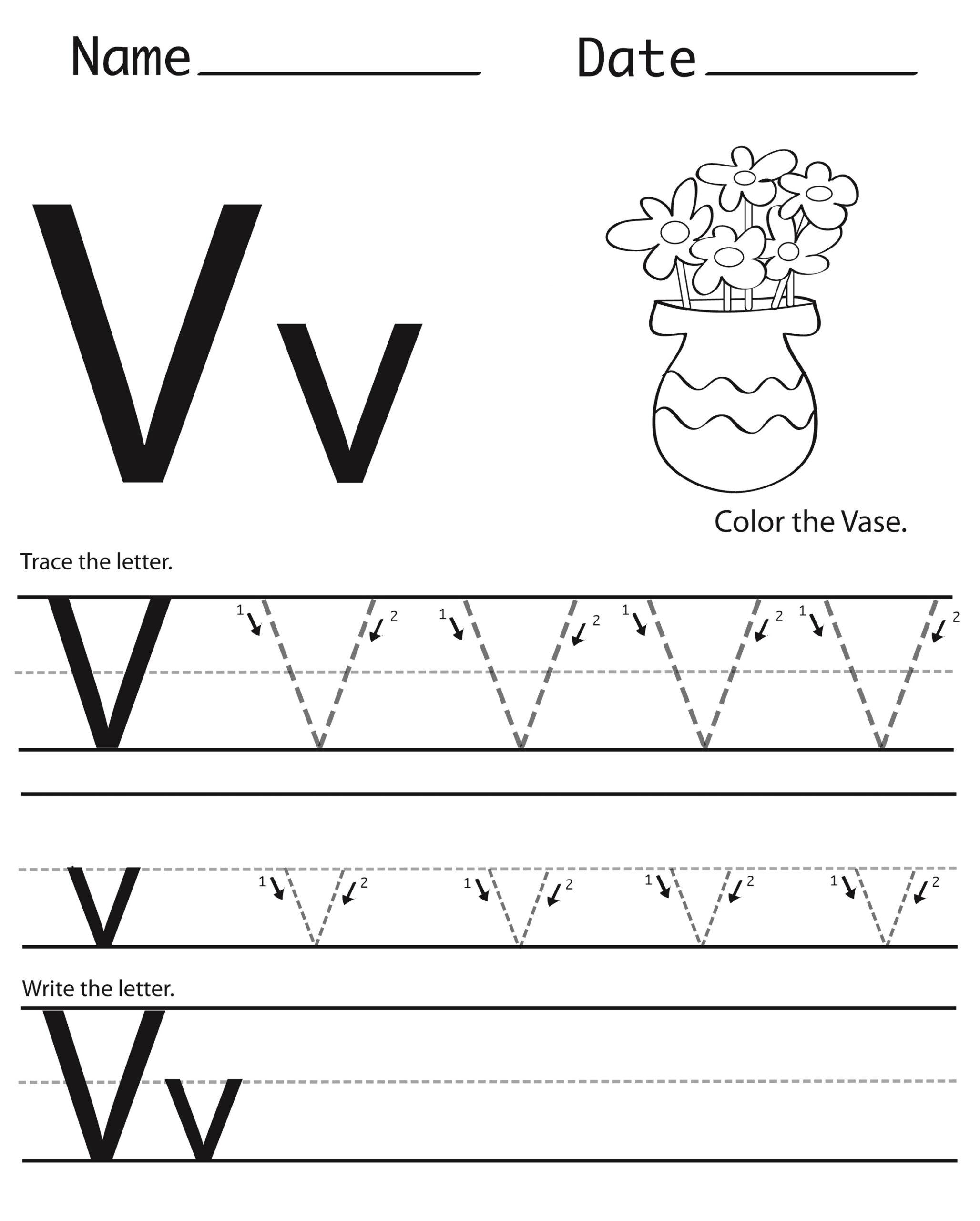 V Letter Worksheets