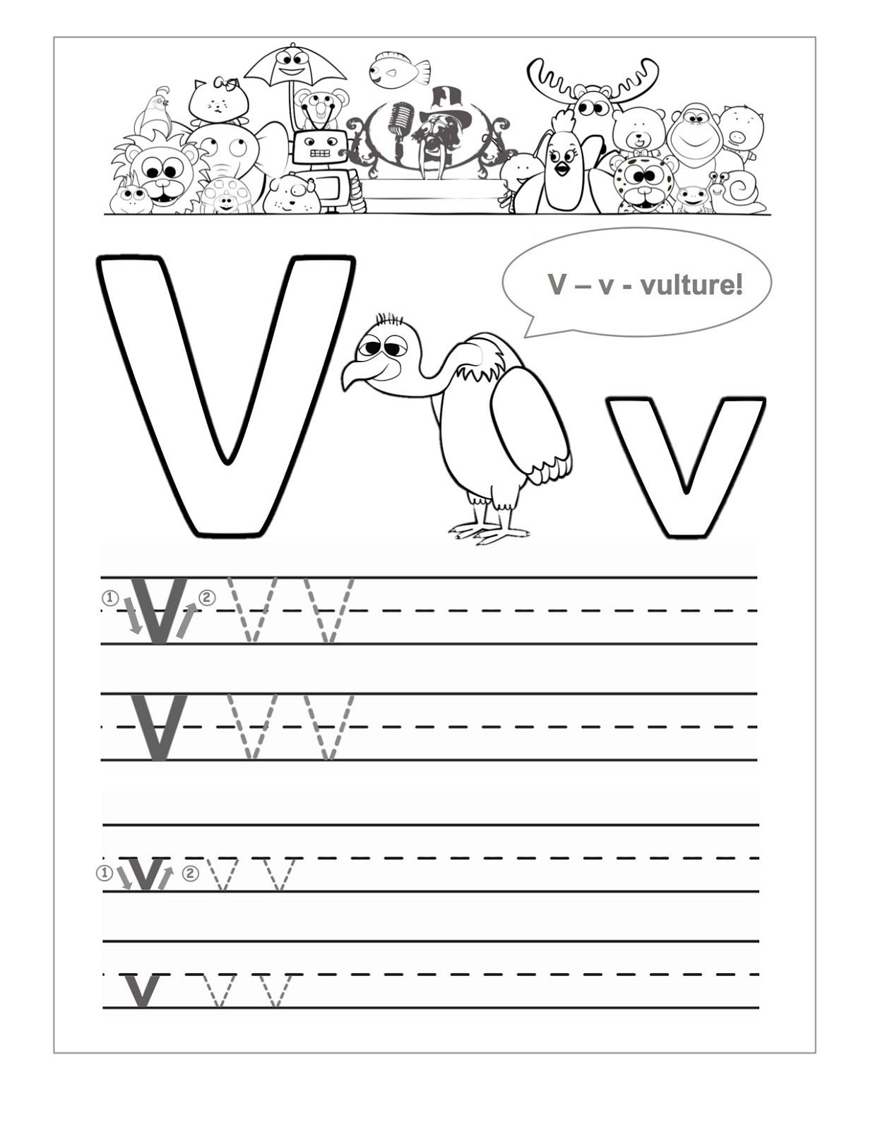 Letter V Worksheets For Kindergarten