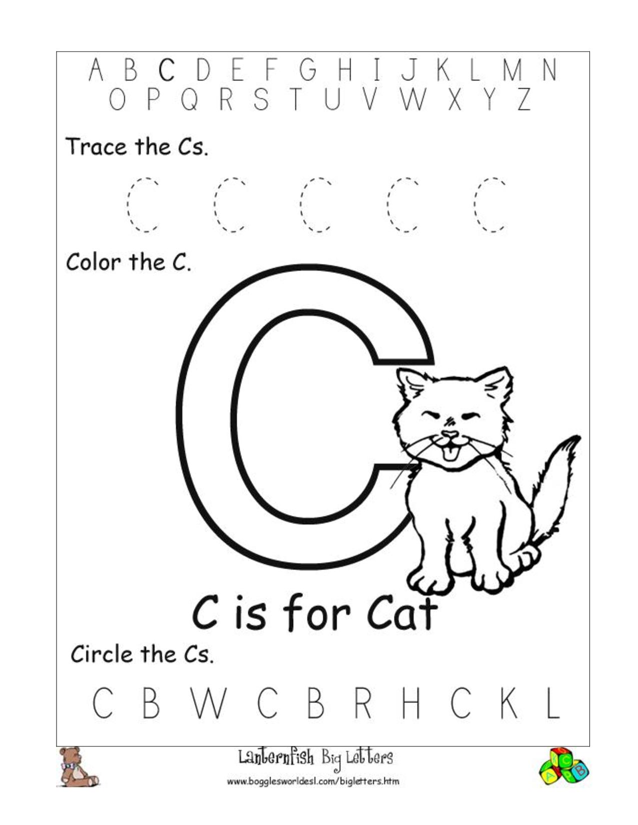 Letter C Worksheets For Pre K