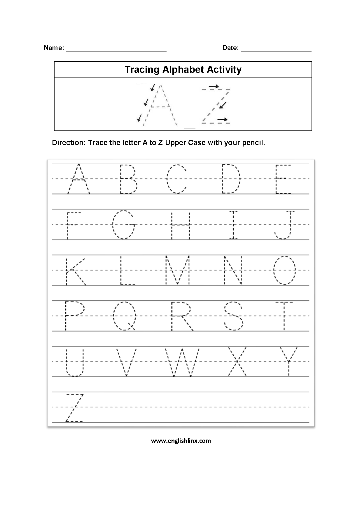 A Z Alphabet Tracing Worksheets