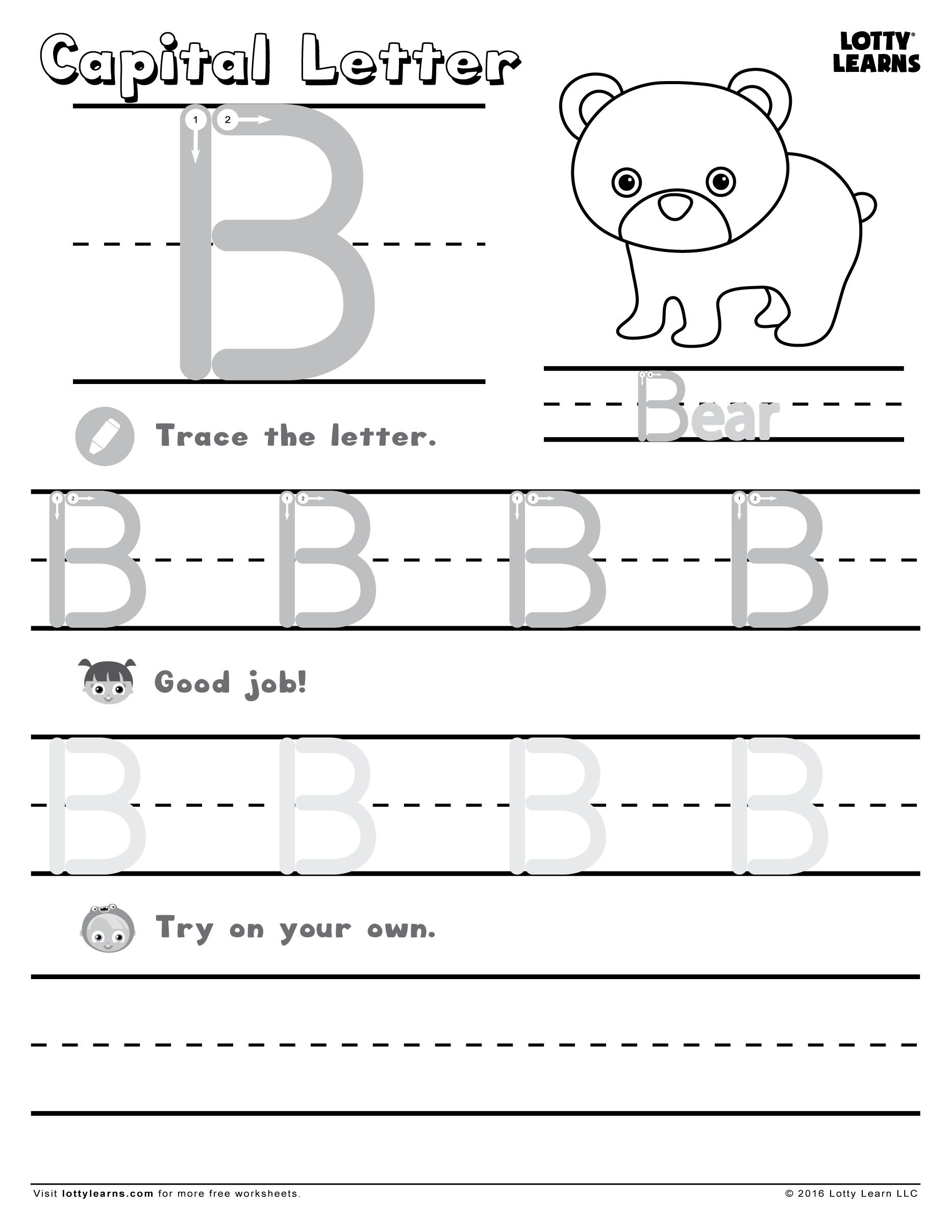 Letter B Worksheets For Kindergarten