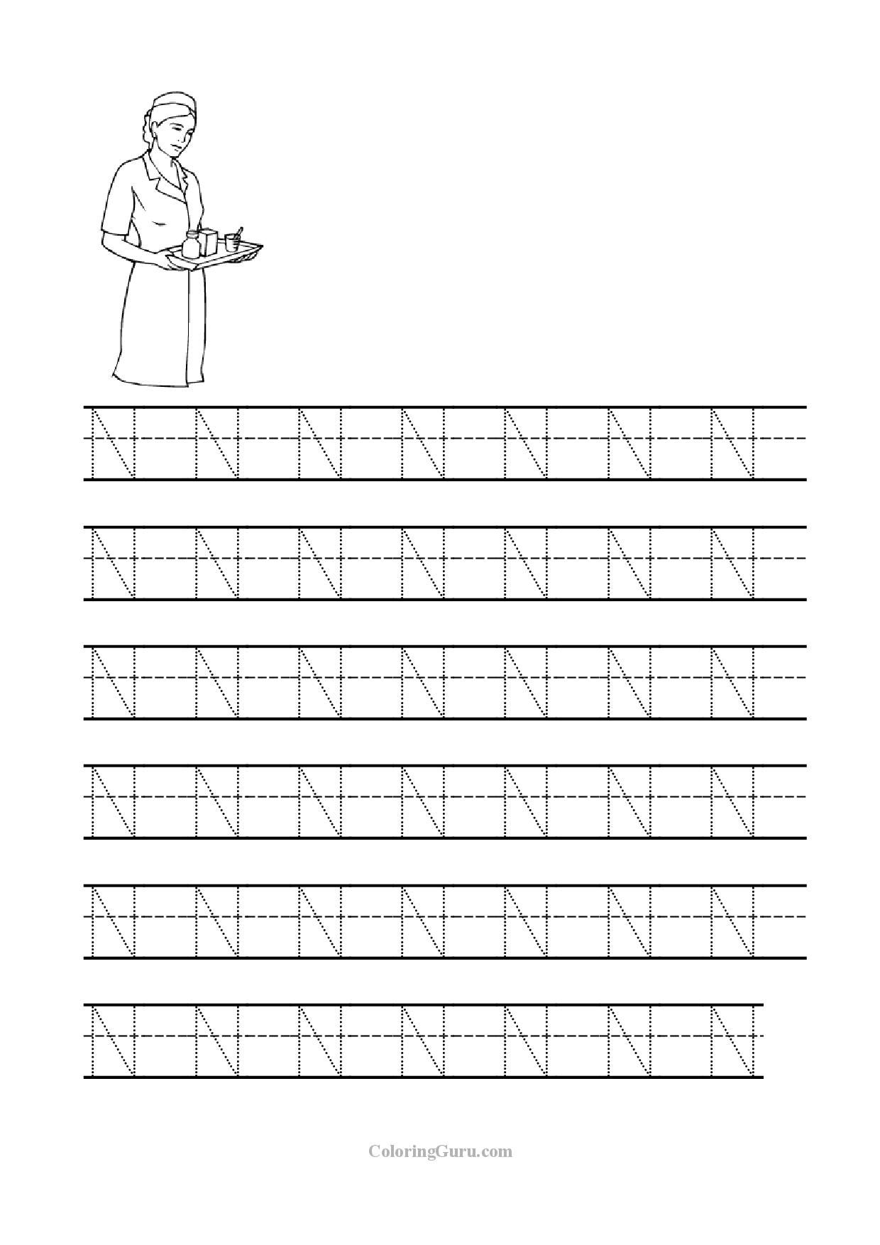 Letter N Tracing Worksheet