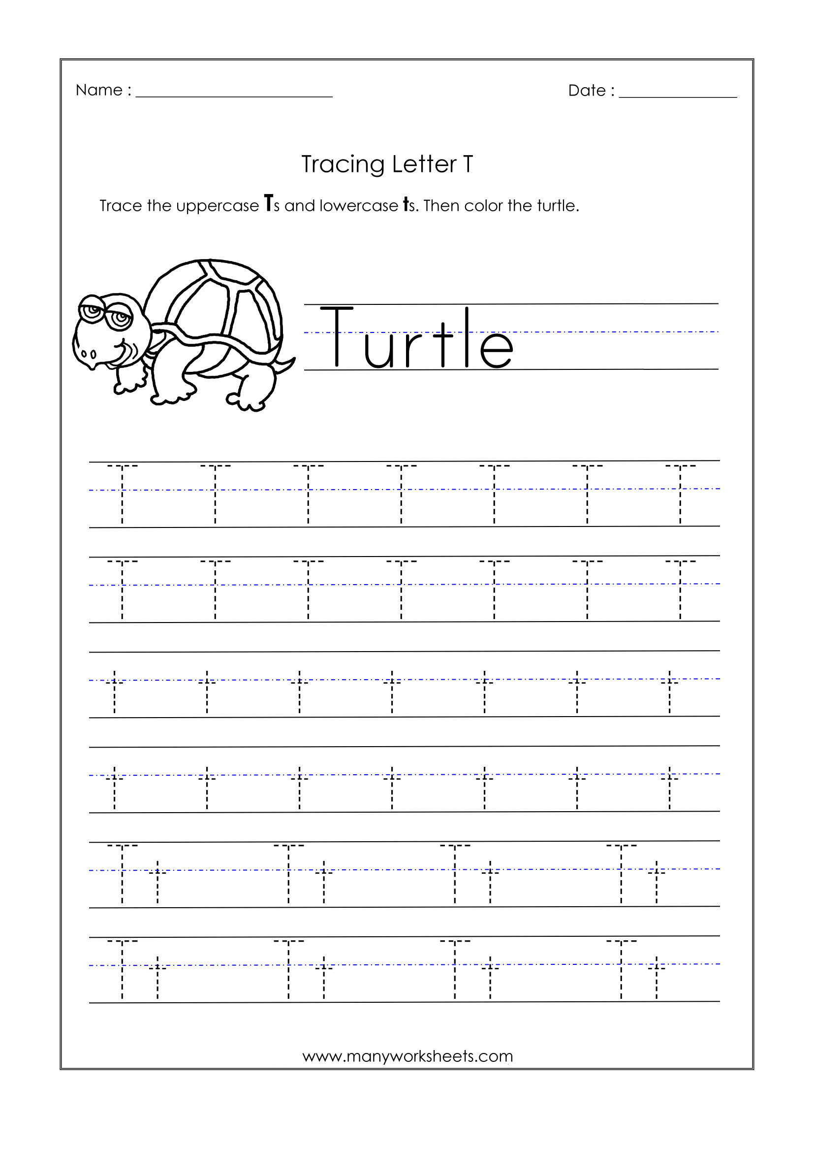 T Letter Worksheets Kindergarten