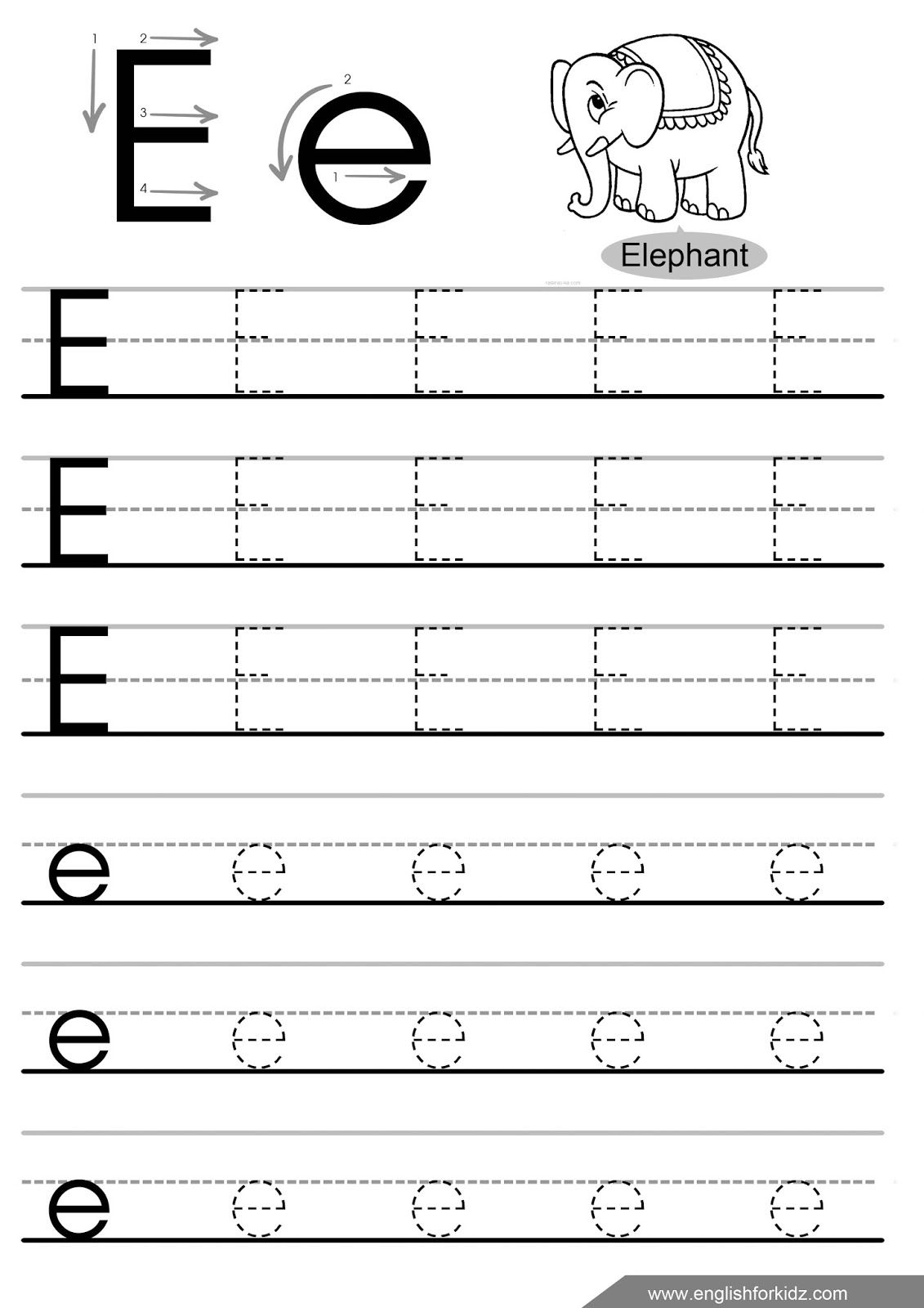 Letter E Worksheets Tracing