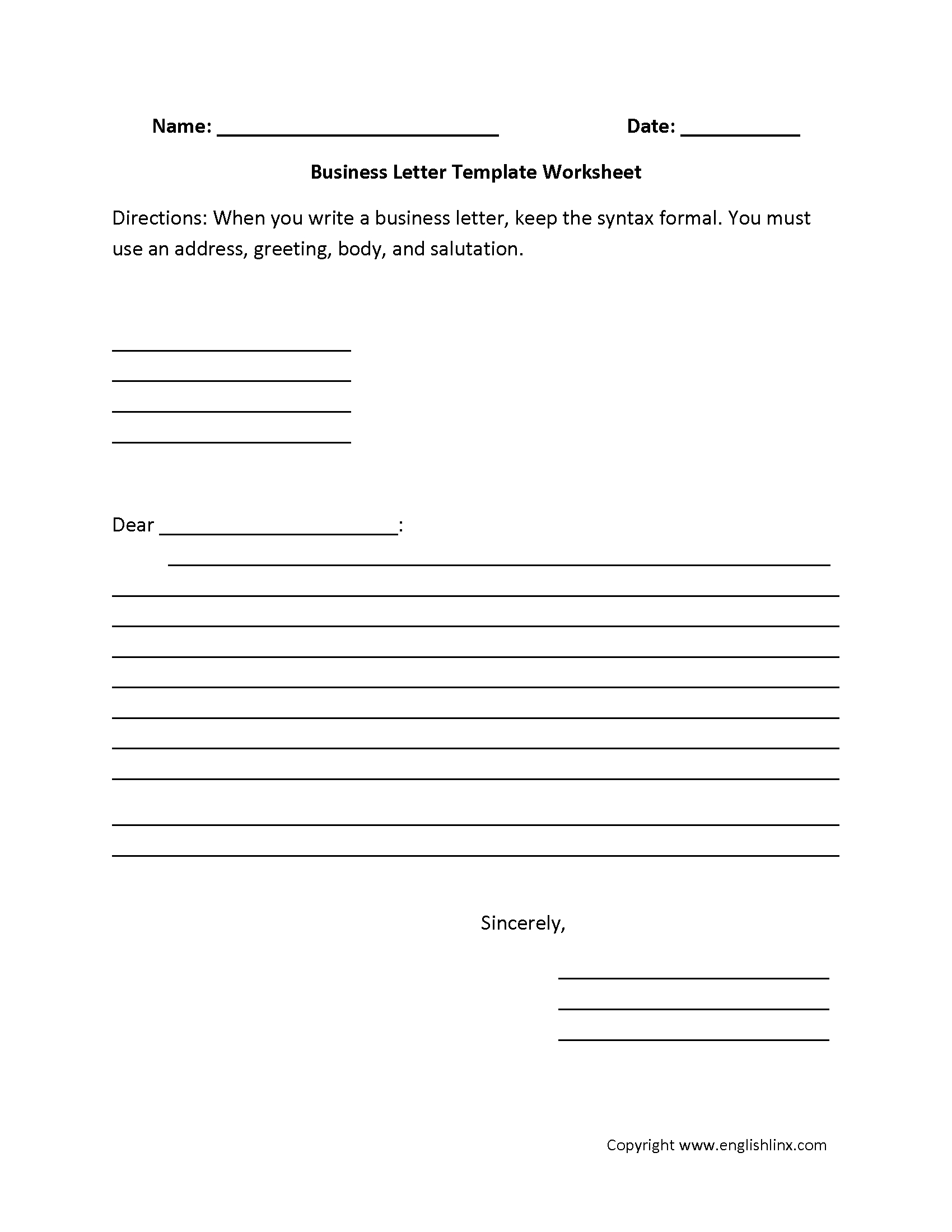 Letter Writing Worksheets For Grade 5