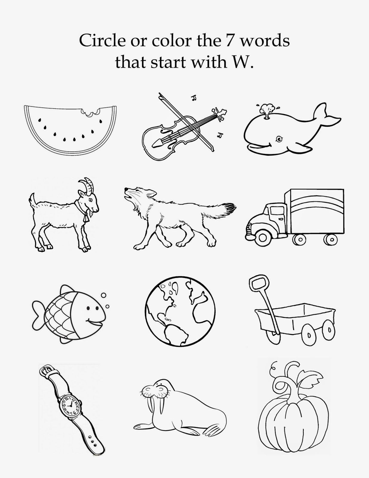 Letter W Worksheets For Toddlers