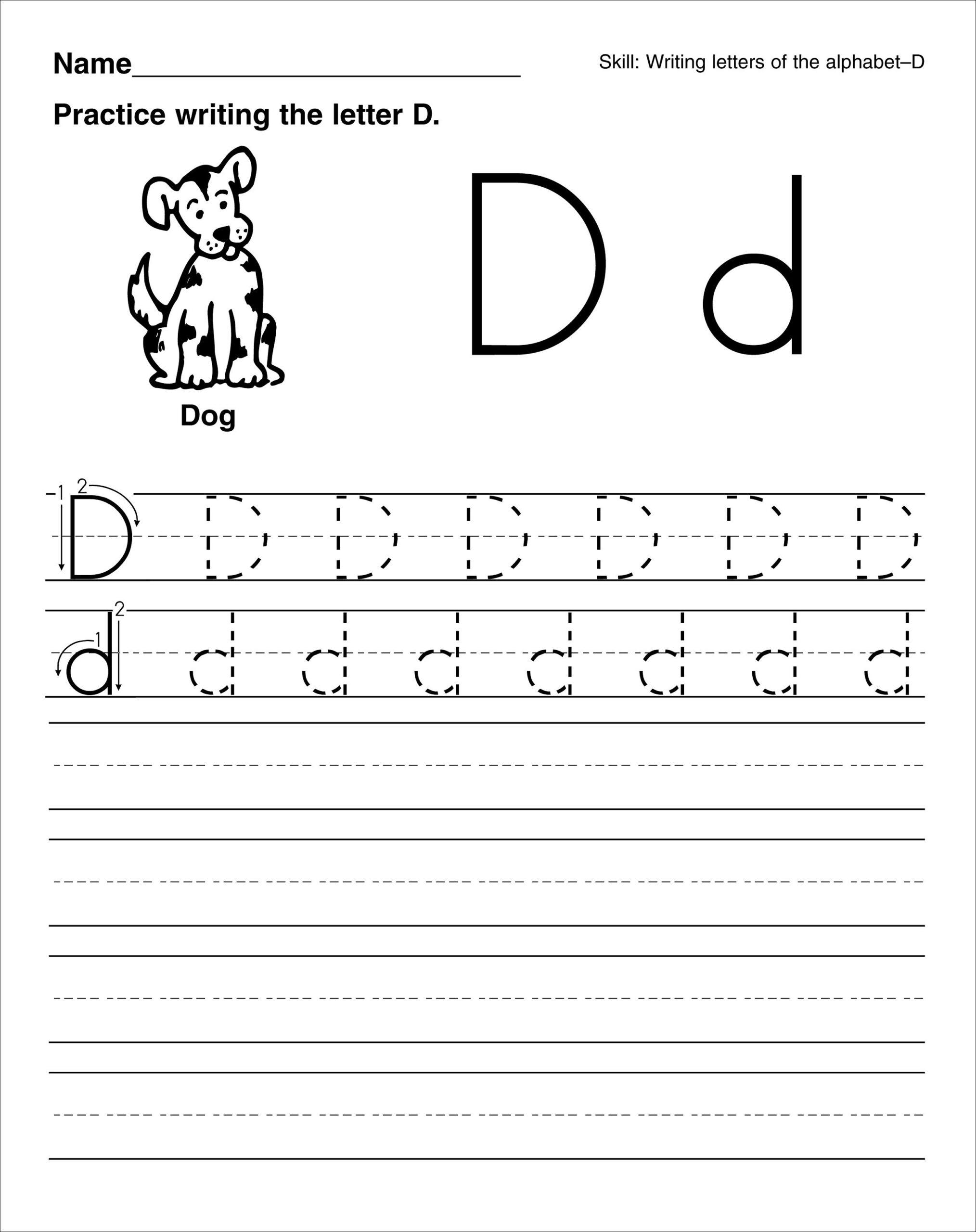 Letter D Worksheets Printable