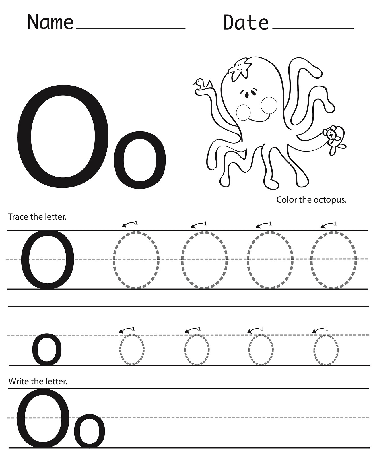 Letter O Tracing Printable