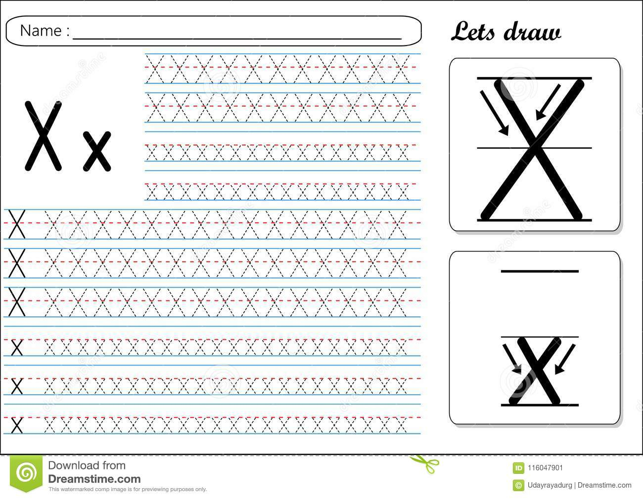 Letter X Tracing Sheet