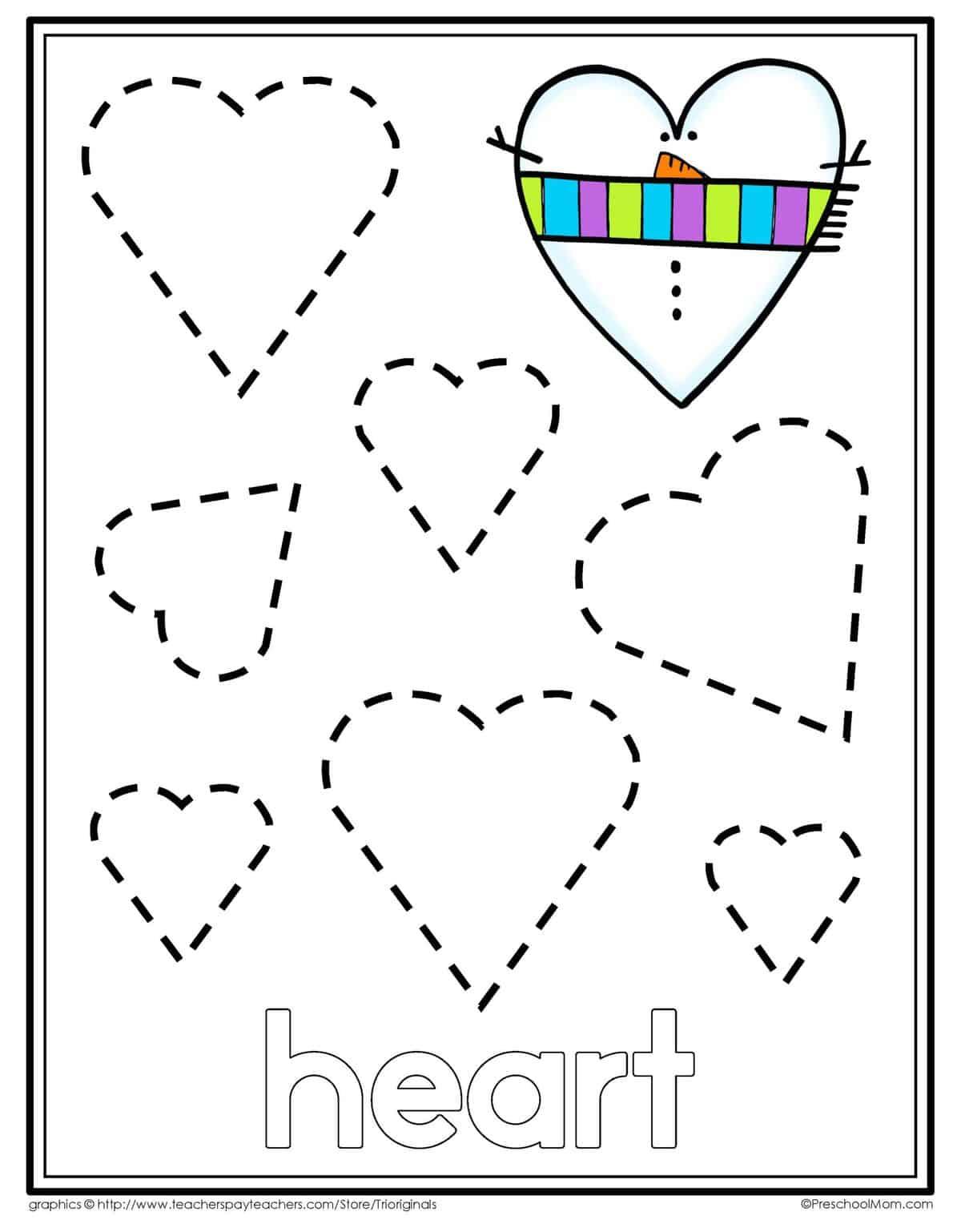 Heart Tracing Worksheets For Preschool