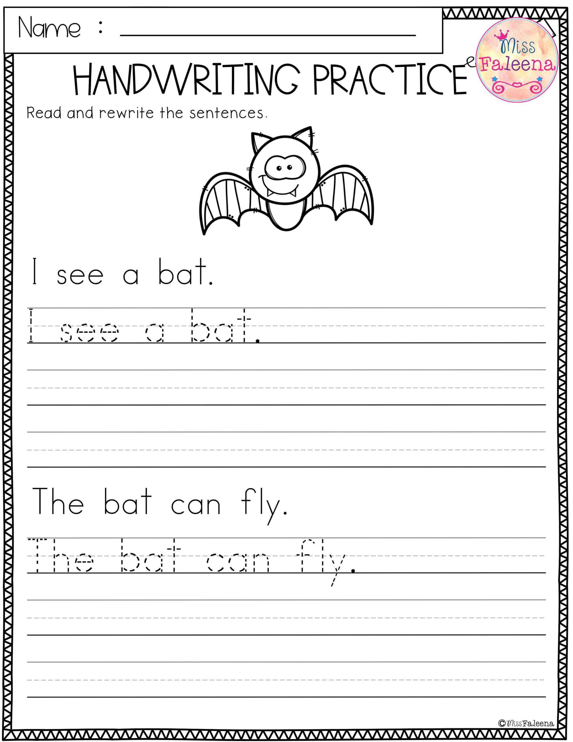 Sentence Tracing Worksheets