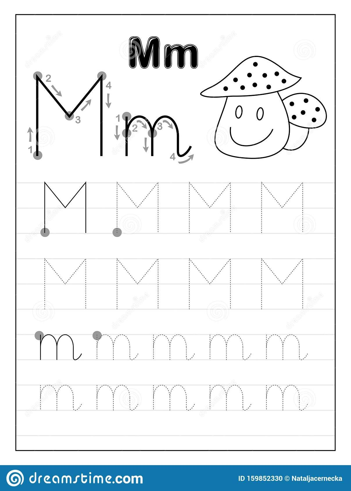 Tracing Letter M Worksheets Kindergarten