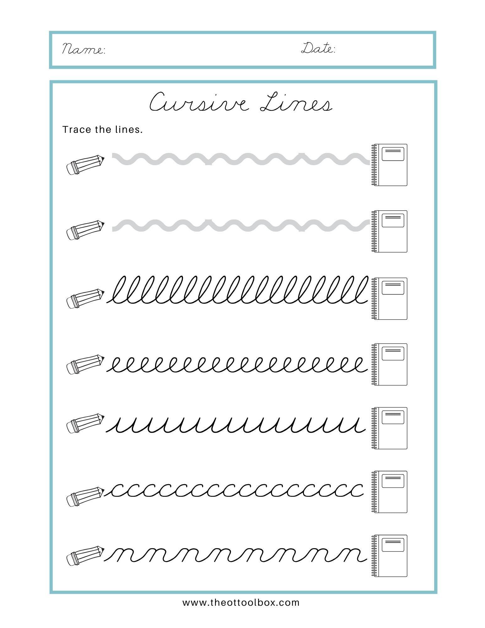 Cursive Writing Tracing Worksheets