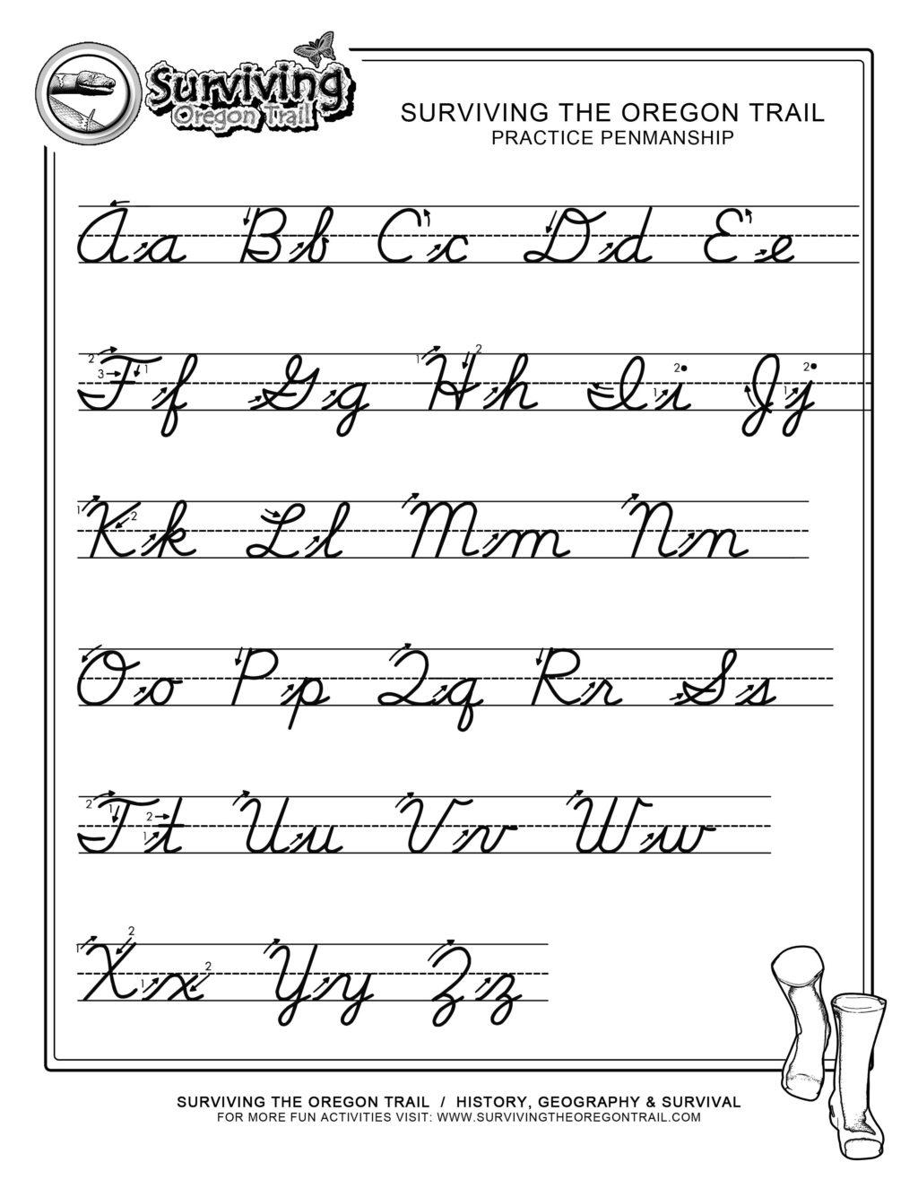 Cursive Alphabet Chart Free Printable