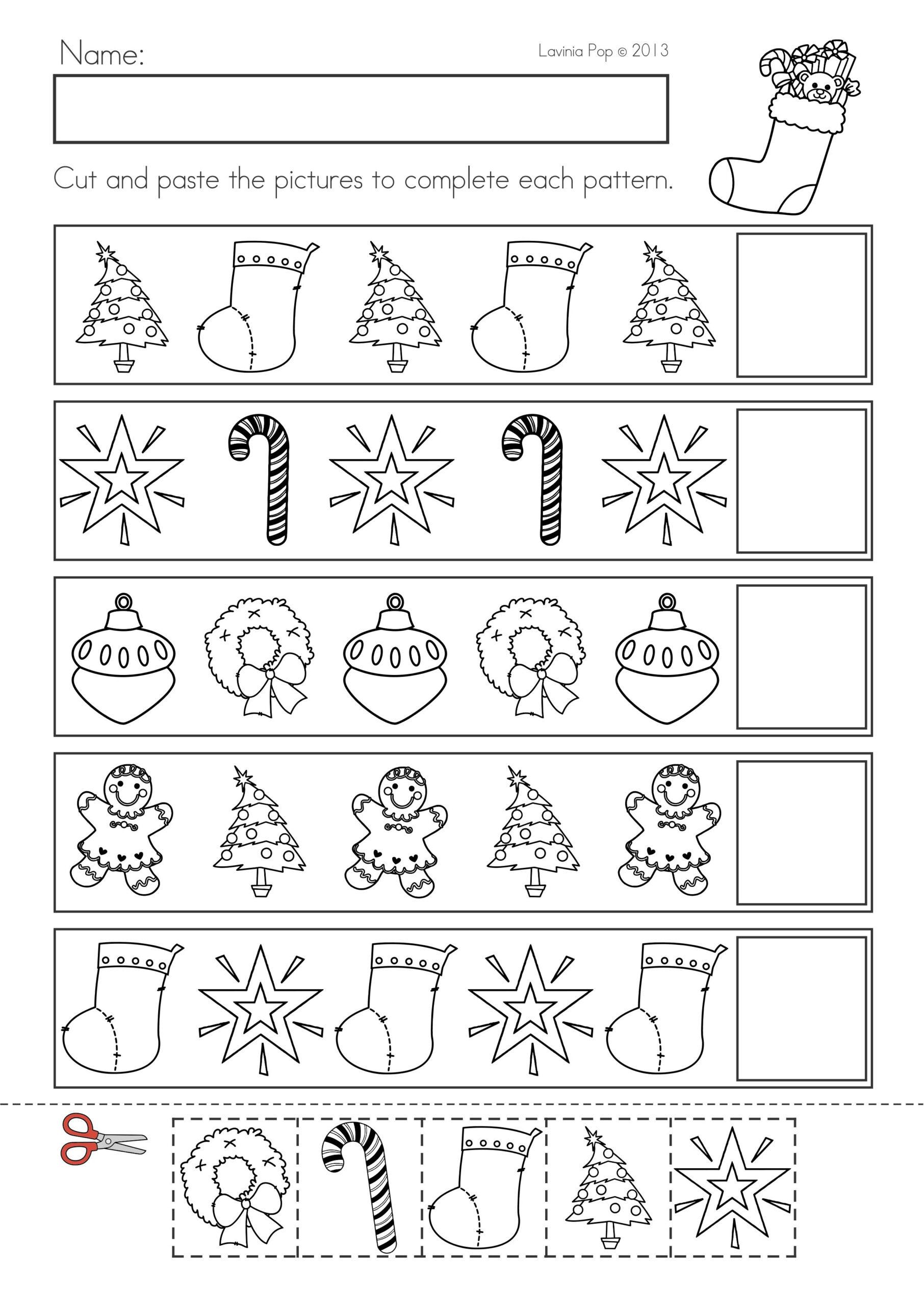 Christmas Pattern Worksheet Kindergarten
