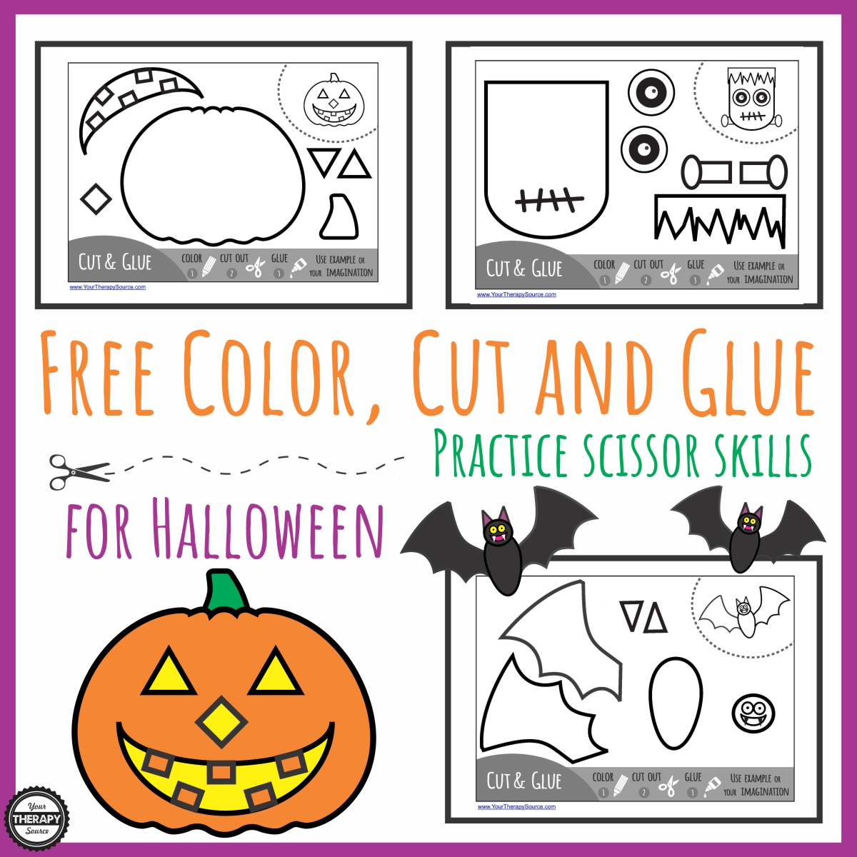 Halloween Glue Practice Worksheet