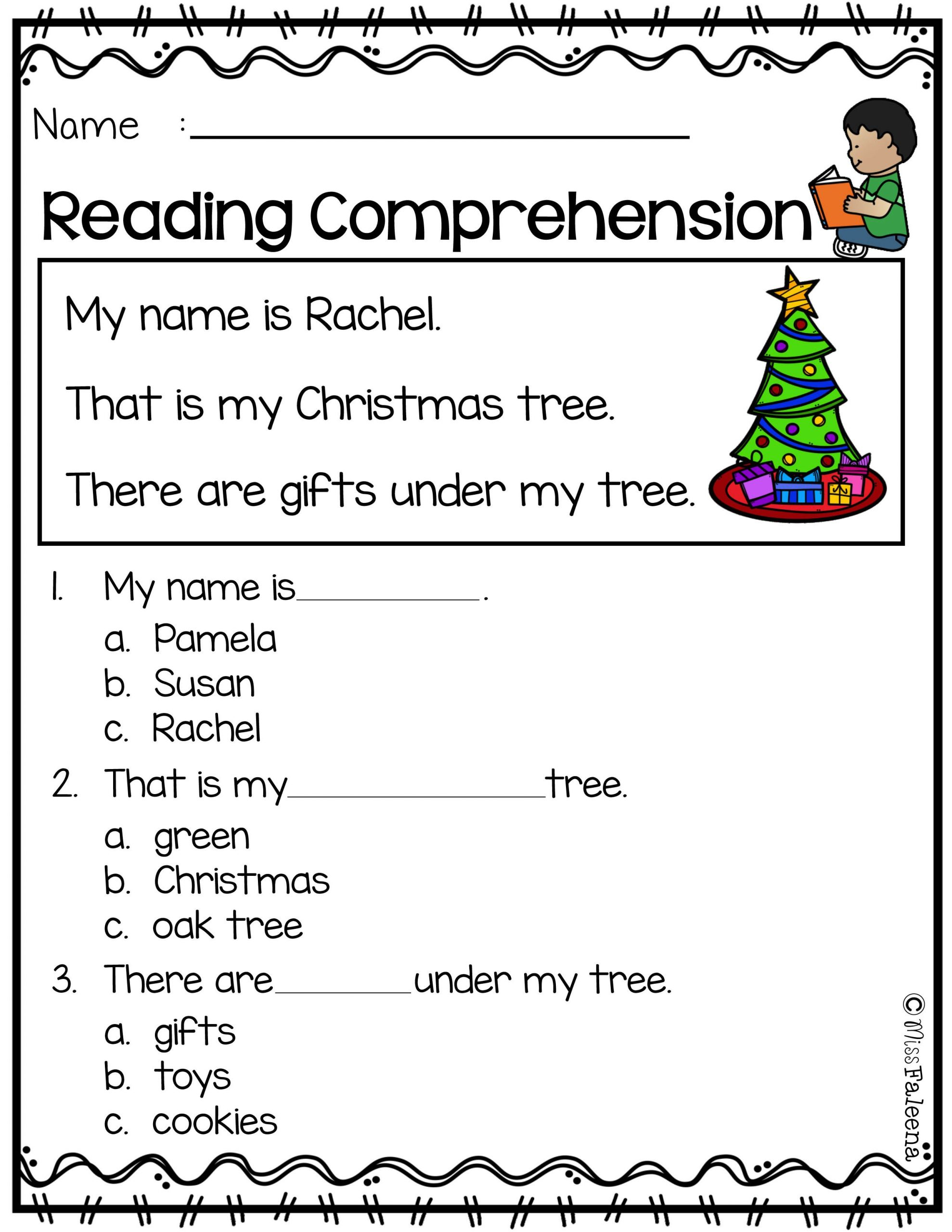 Christmas 1st Grade Reading Worksheets