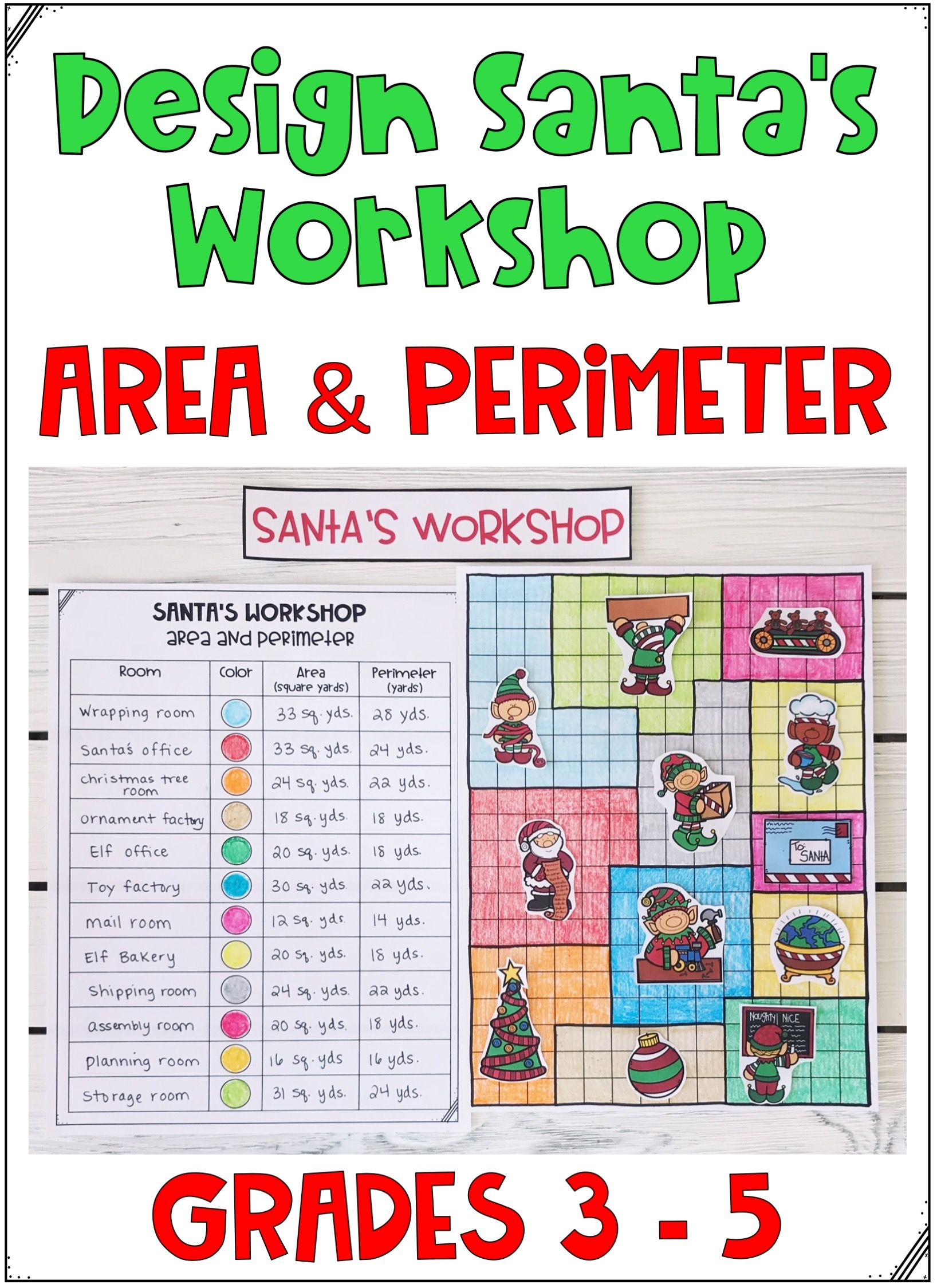 Christmas Maths Area And Perimeter Worksheets