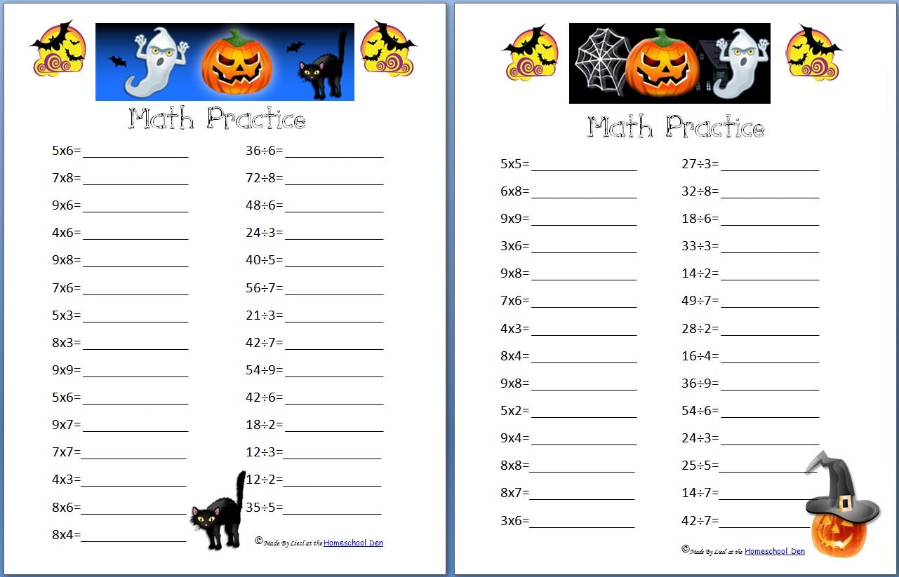 Free Halloween Math Worksheets Grade 4
