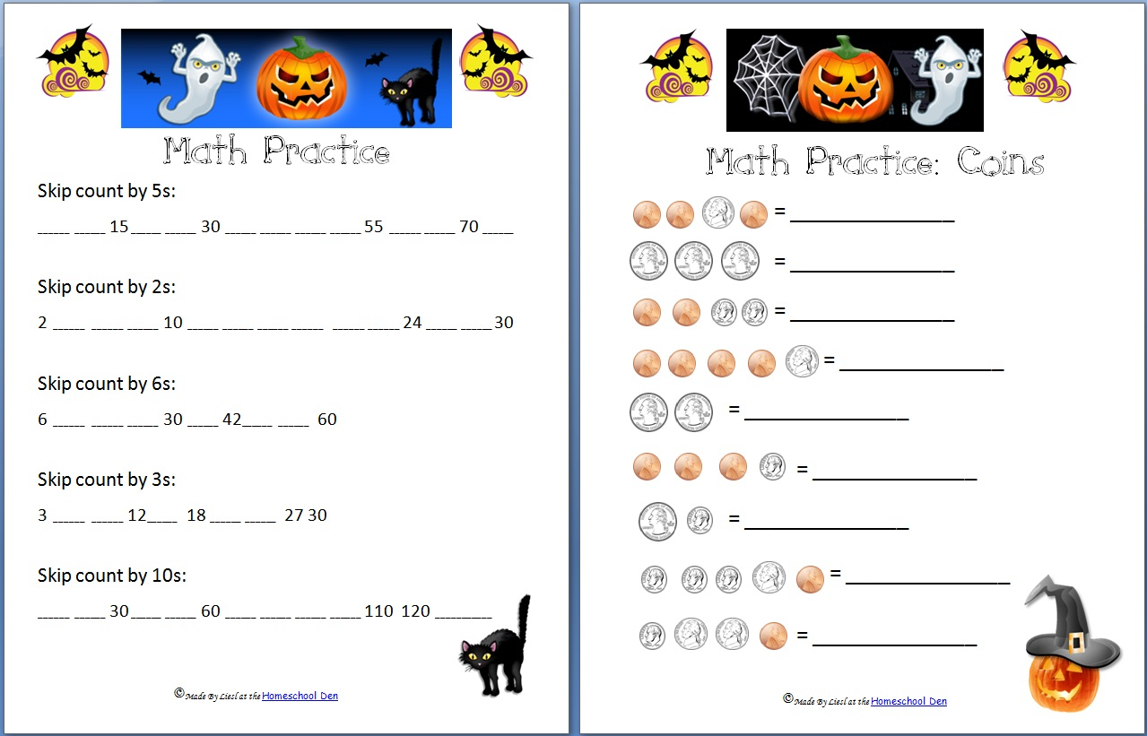 Halloween Counting Money Worksheets