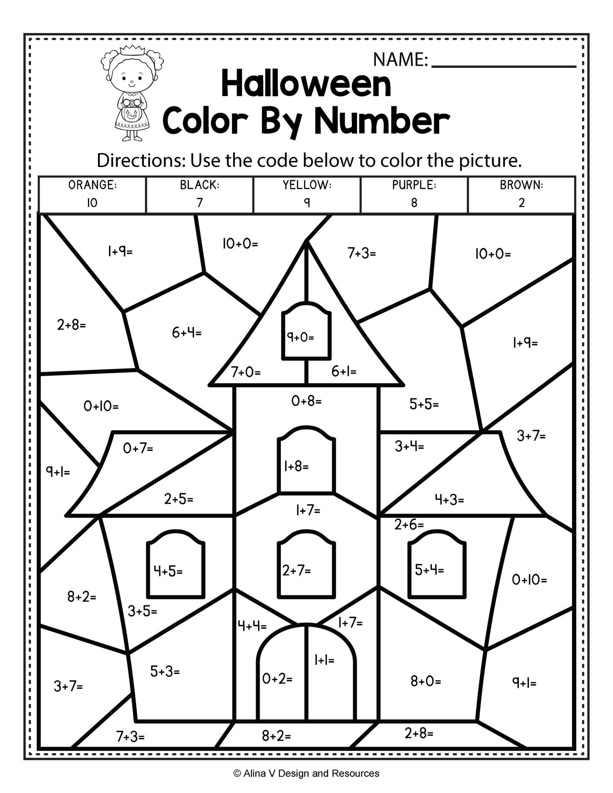 Halloween Subtraction Worksheets 1st Grade