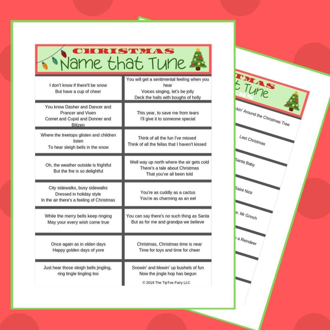 Name That Tune Christmas Worksheet