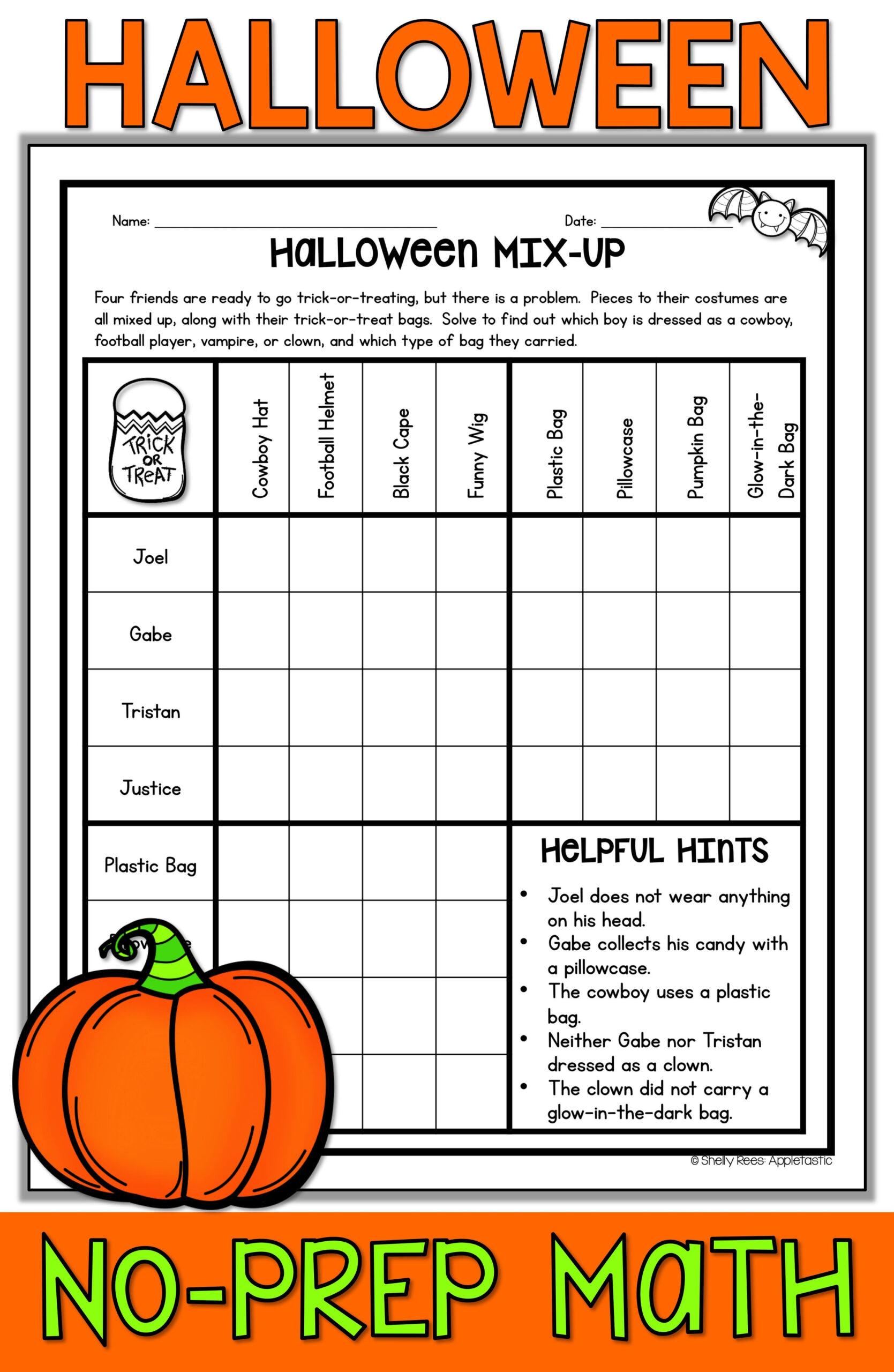 Halloween Mix Up Worksheet Answer Key