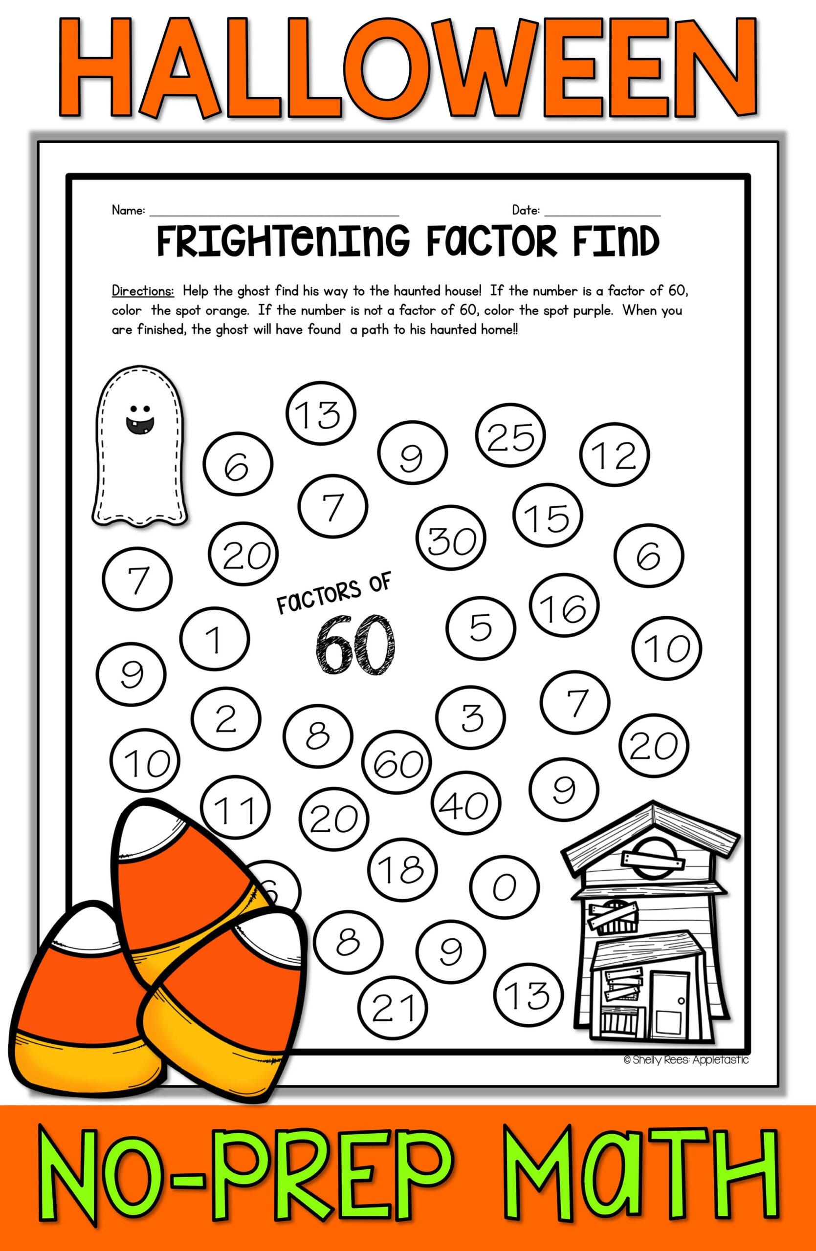 Free Middle School Halloween Math Worksheets
