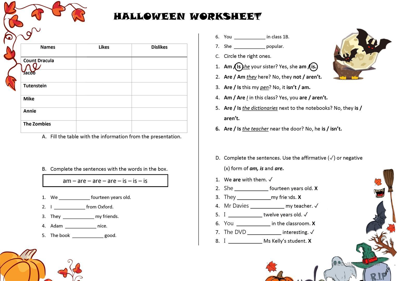 Halloween Verb Worksheet