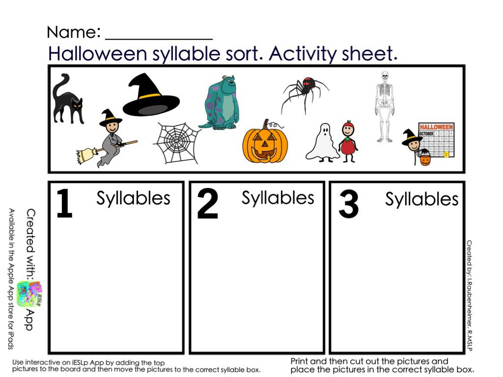 Halloween Syllables Worksheets
