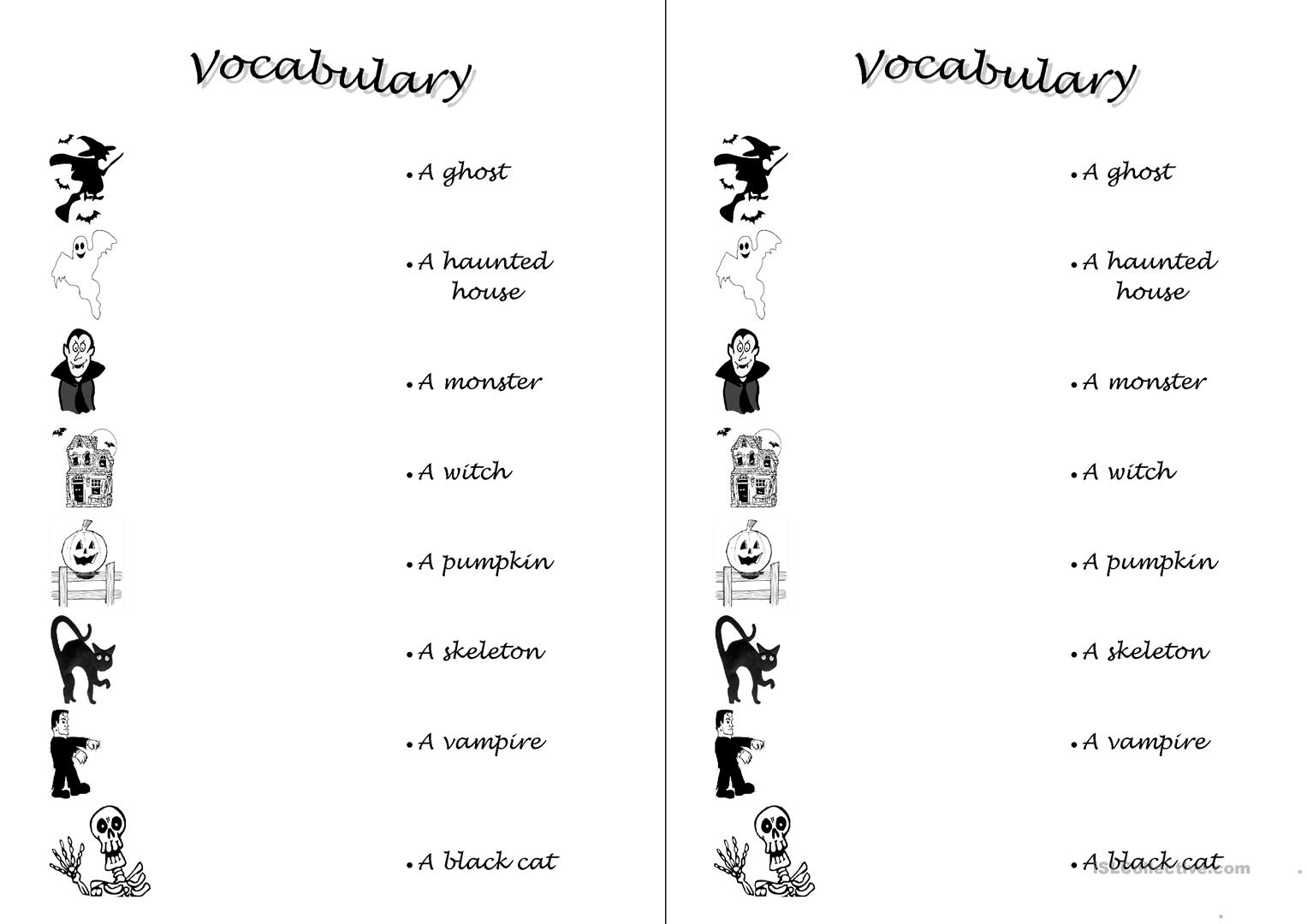 French Halloween Vocabulary Worksheet