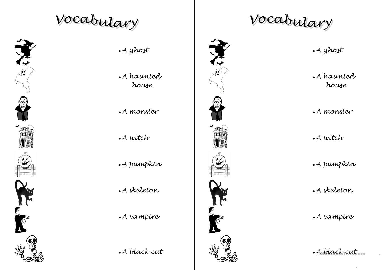 Halloween Vocabulary Worksheets For Kindergarten