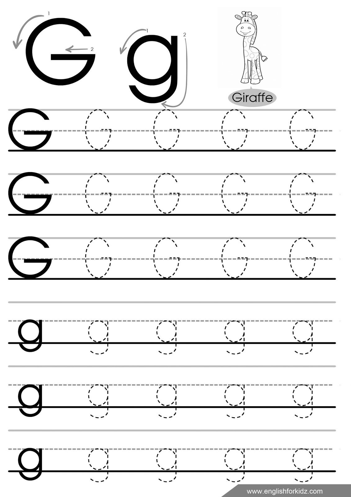 The Letter G Tracing Worksheets