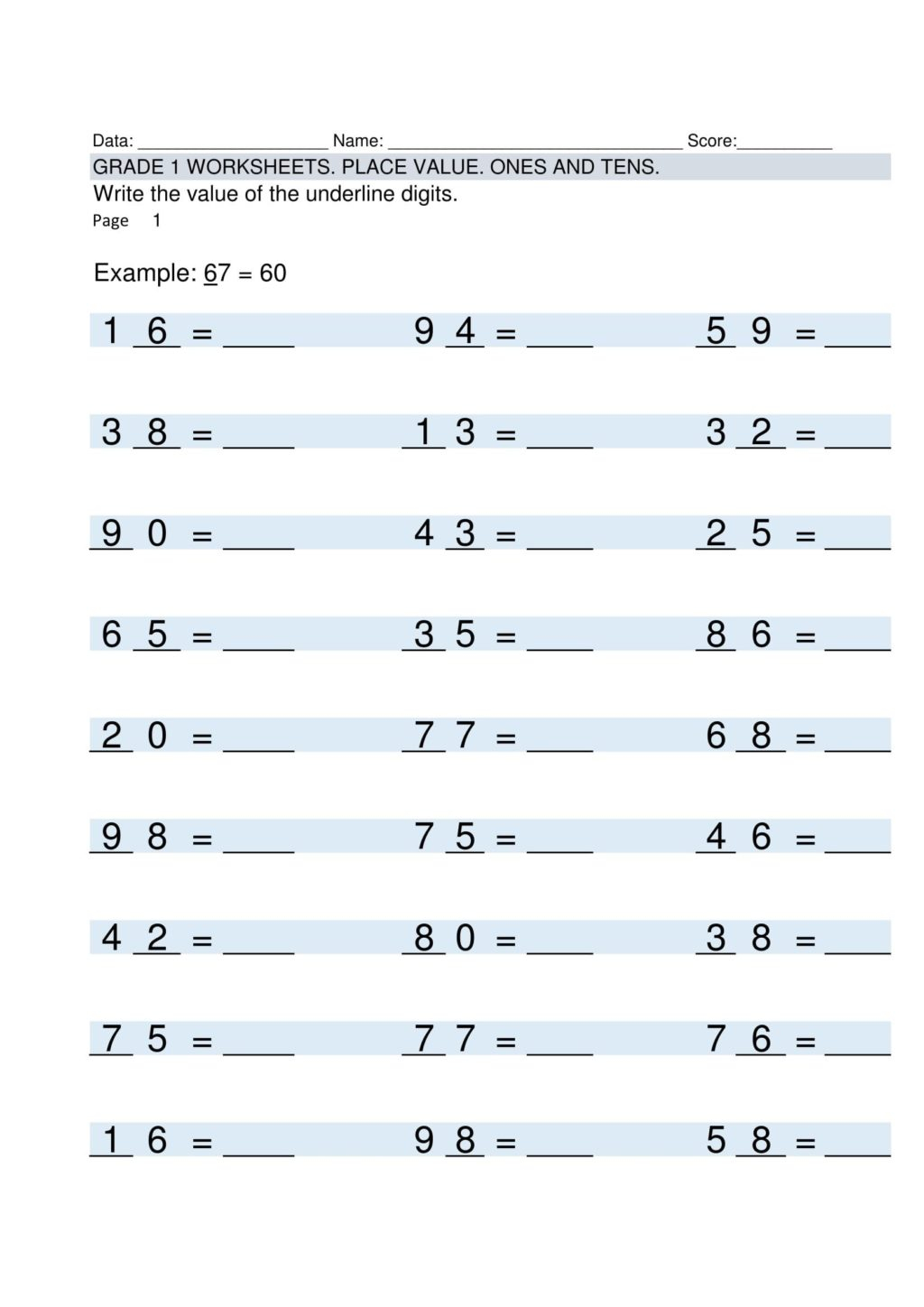 Fill In The Blank Multiplication Worksheets